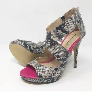 Michael Antonio Snake Skin Print Sandals 6.5